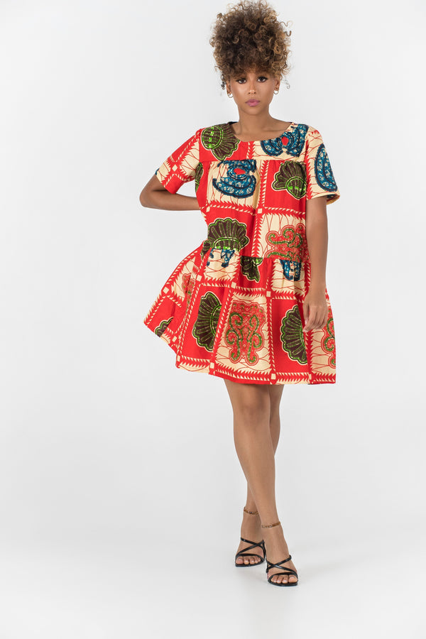 Grass-Fields Matching Sets African Print Malak Dress