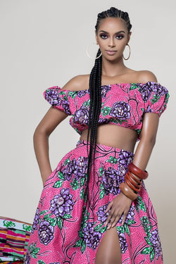 Grass-Fields Matching Sets African Print Malvina Crop Top