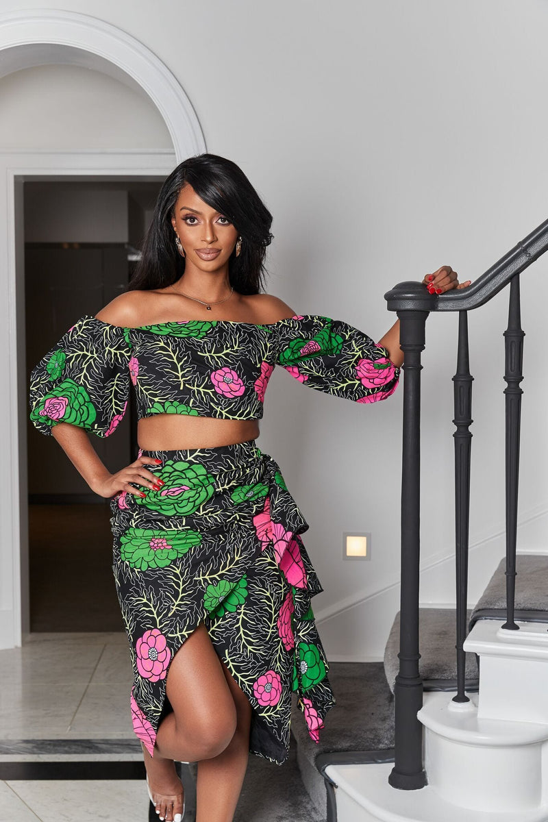Grass-Fields Matching Sets African Print Mauritia Crop Top