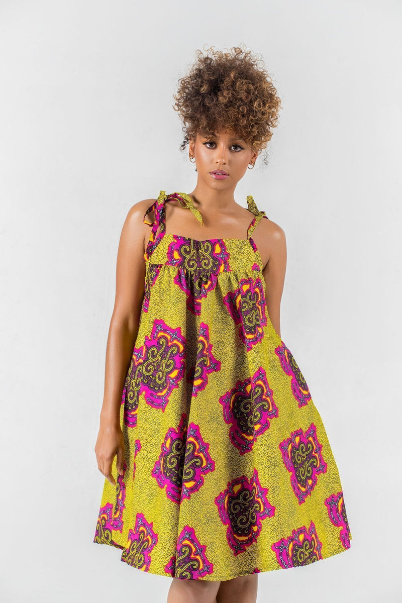 Grass-Fields Matching Sets African Print Momo Dress