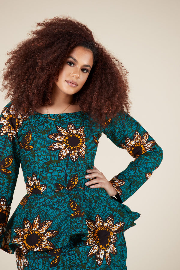 Grass-fields Matching Sets African Print Nayo Peplum Top
