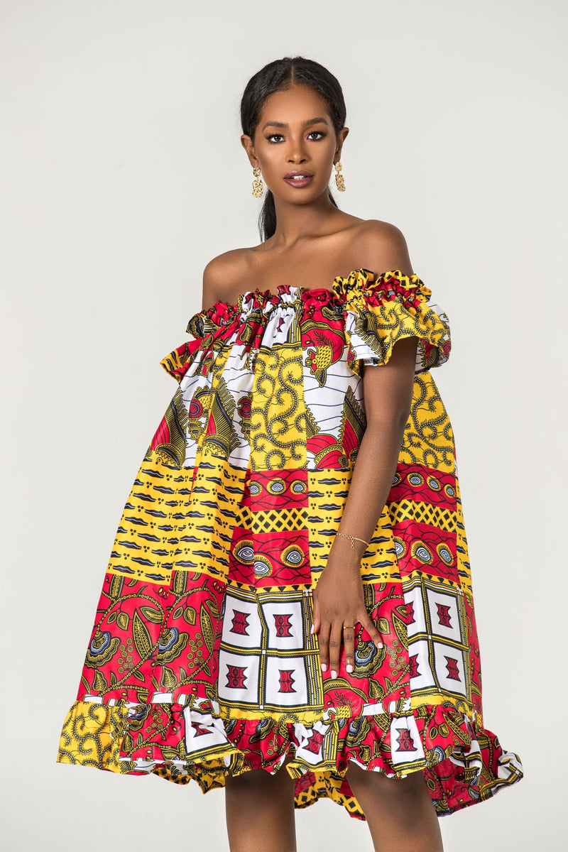 Grass-Fields Matching Sets African Print Nele Off Shoulder Dress
