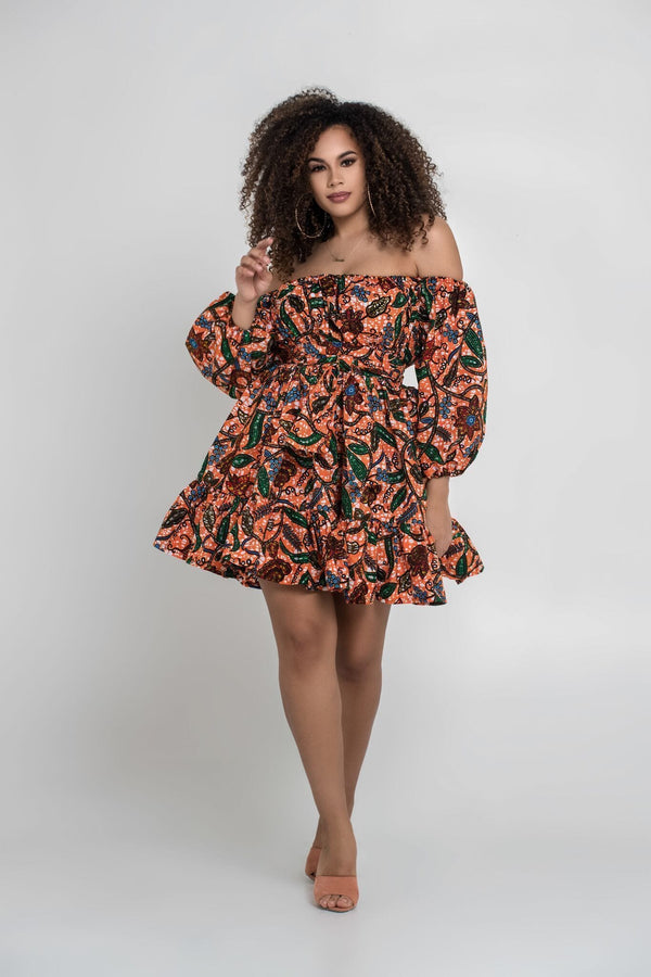 Grass-Fields Matching Sets African Print Off Shoulder Raissa Dress