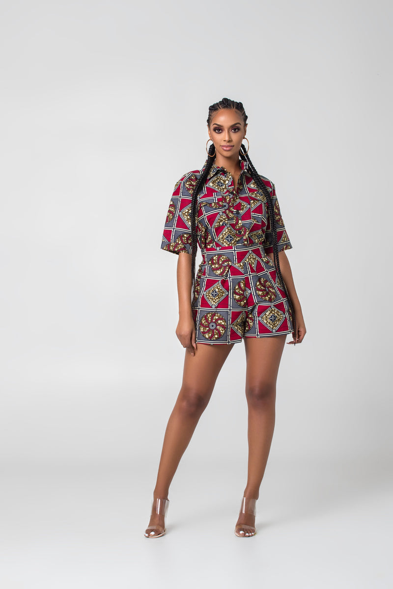 Grass-Fields Matching Sets African Print Pichou Shorts