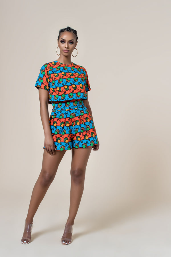 Grass-Fields Matching Sets African Print Ramatu Shorts