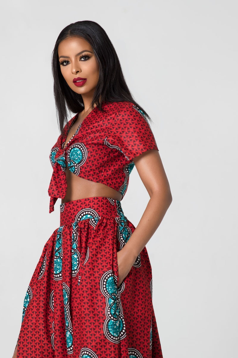 Grass-Fields Matching Sets African Print Red Sienna Top
