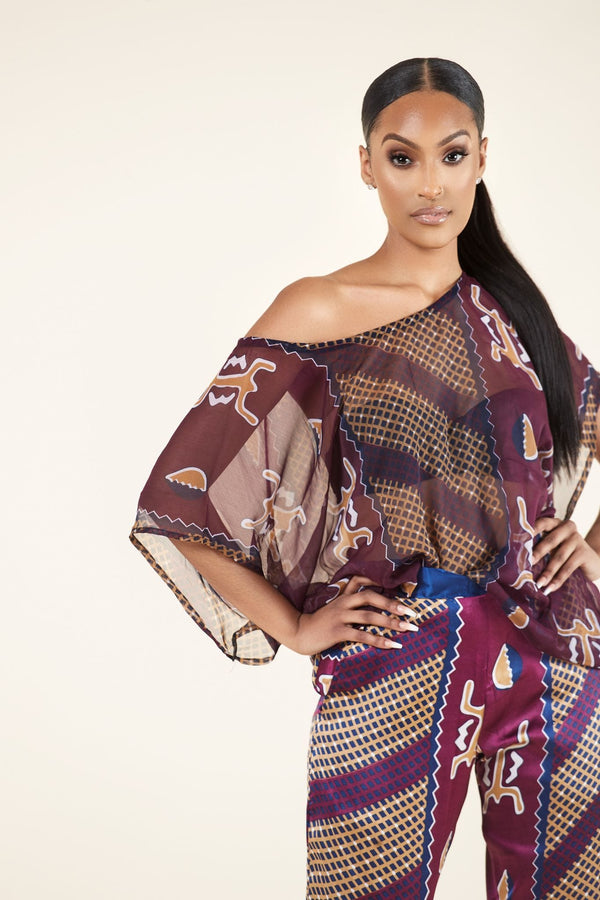 Grass-fields Matching Sets African Print Regina Top