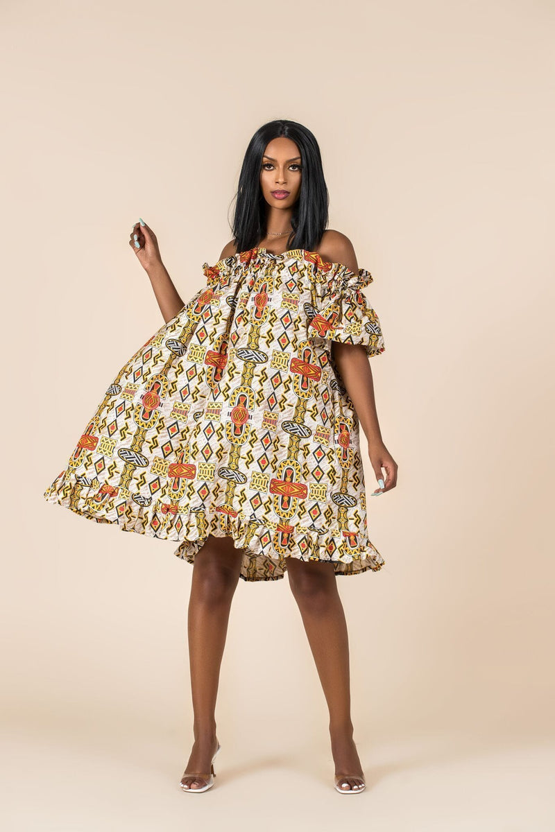 Grass-Fields Matching Sets African Print Roos Off Shoulder Dress