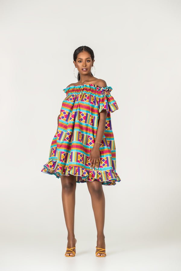 Grass-Fields Matching Sets African Print Saar Off Shoulder Dress