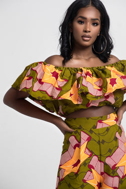 Grass-Fields Matching Sets African Print Salome Crop Top