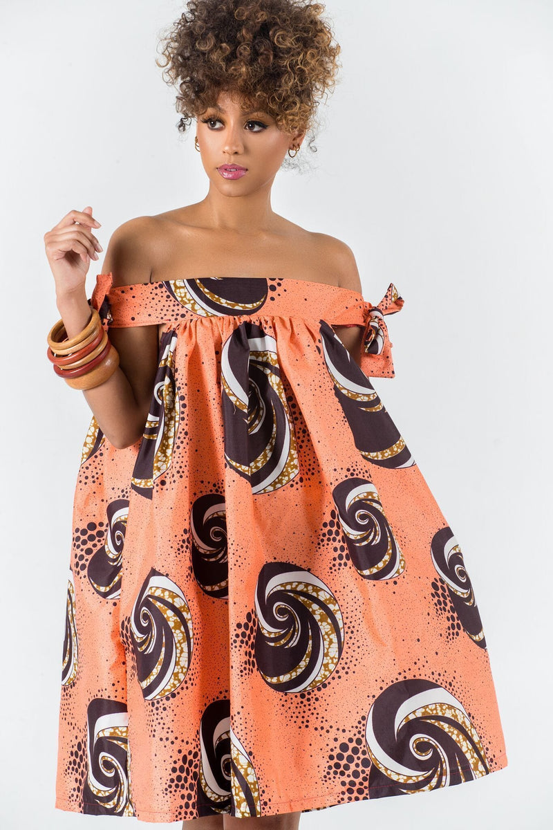Grass-Fields Matching Sets African Print Saveria Off Shoulder Dress