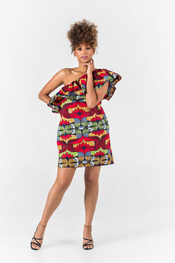 Grass-Fields Matching Sets African Print Sterenn One Shoulder Dress