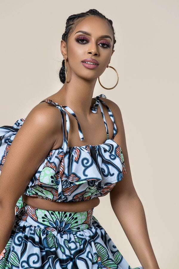 Grass-Fields Matching Sets African Print Temila Crop Top