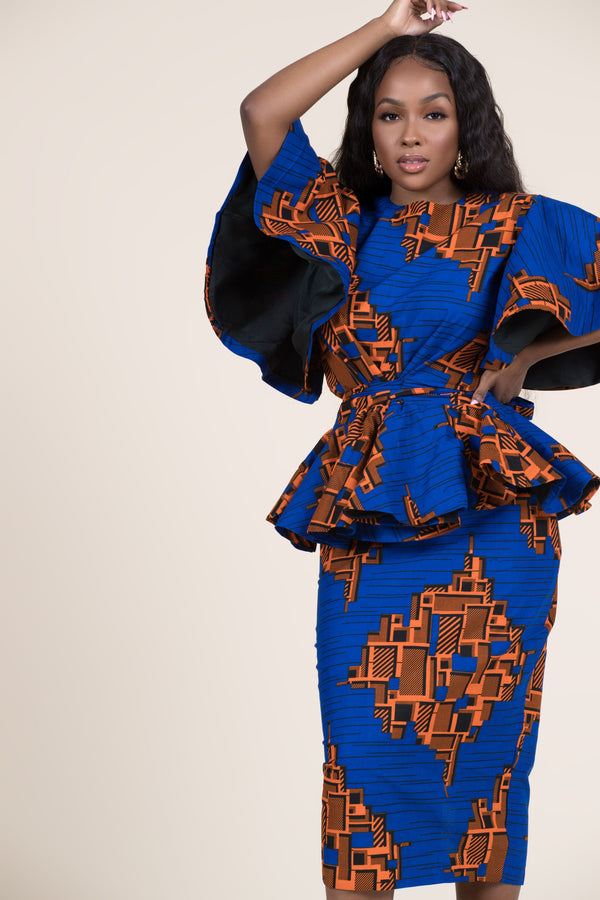 Grass-fields Matching Sets African Print Thandi Peplum Top