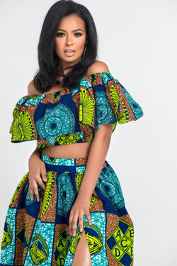 Grass-Fields Matching Sets African Print Yaya Crop Top