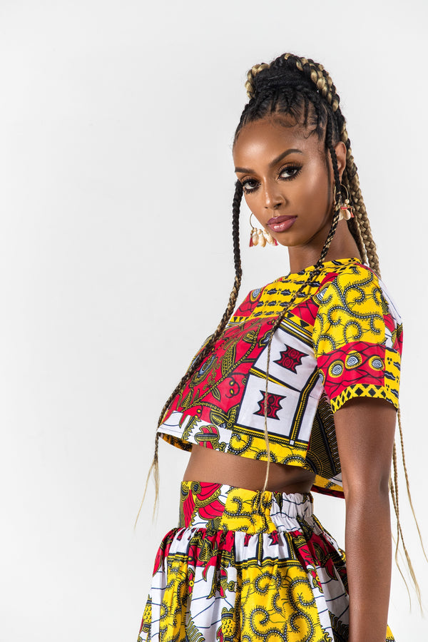 Grass-Fields Matching Sets African Print Yolanda Crop Top