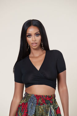 Grass-Fields Matching Sets Black Loba Wrap Crop Top