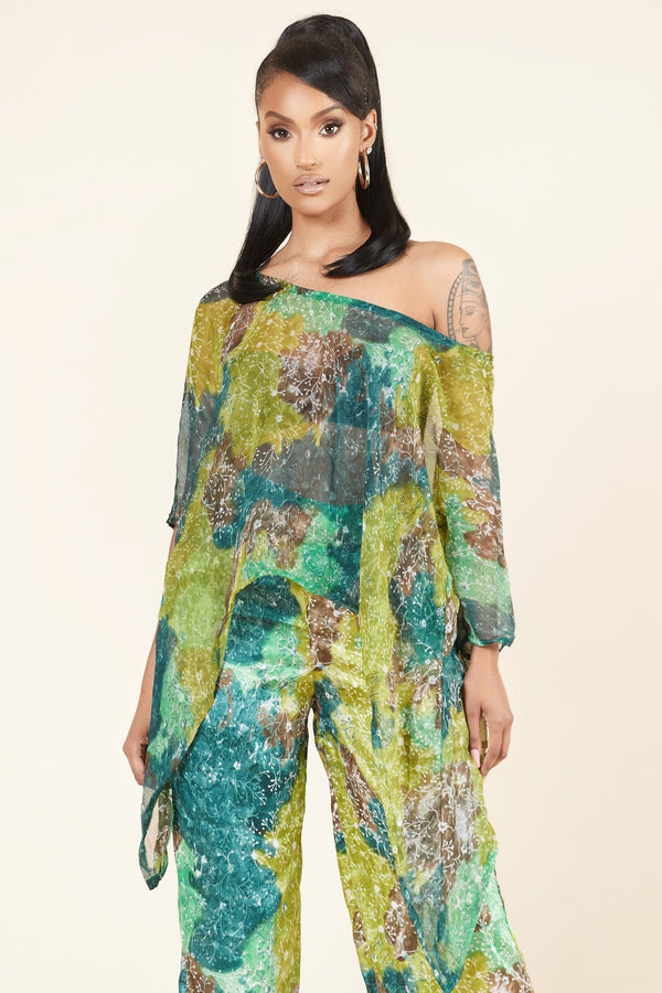 Grass-fields Matching Sets Chiffon Menan Top
