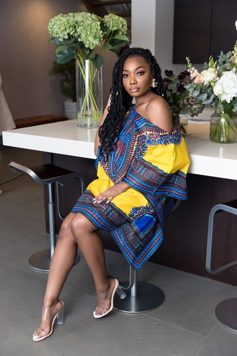 Grass-Fields Matching Sets Off Shoulder Dashiki Pecca Dress