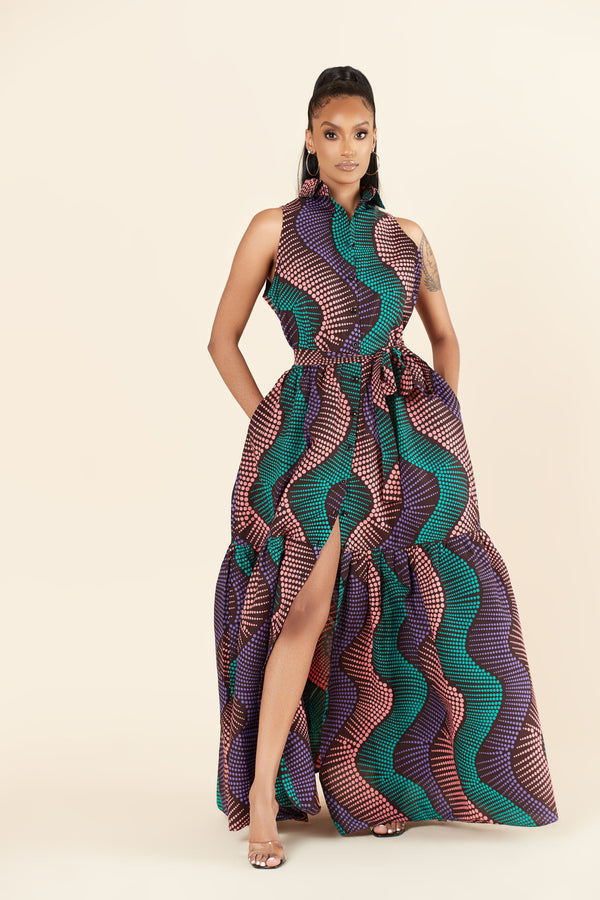 Grass-Fields Maxi Dresses African Print Halle Maxi Dress
