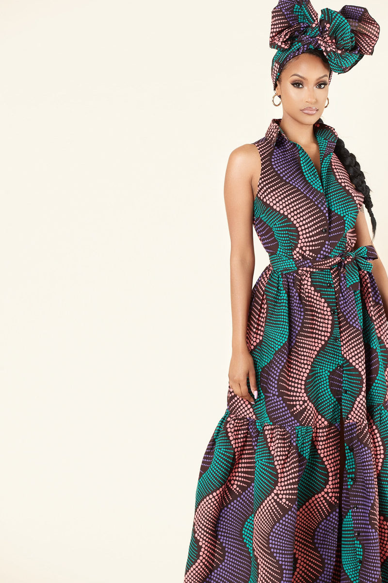 African Print Halle Maxi Dress