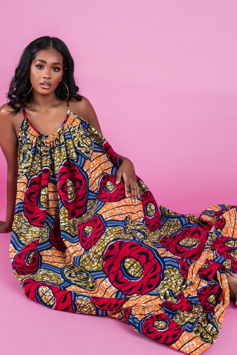 Grass-Fields Maxi Dresses African Print Rosy Maxi Dress