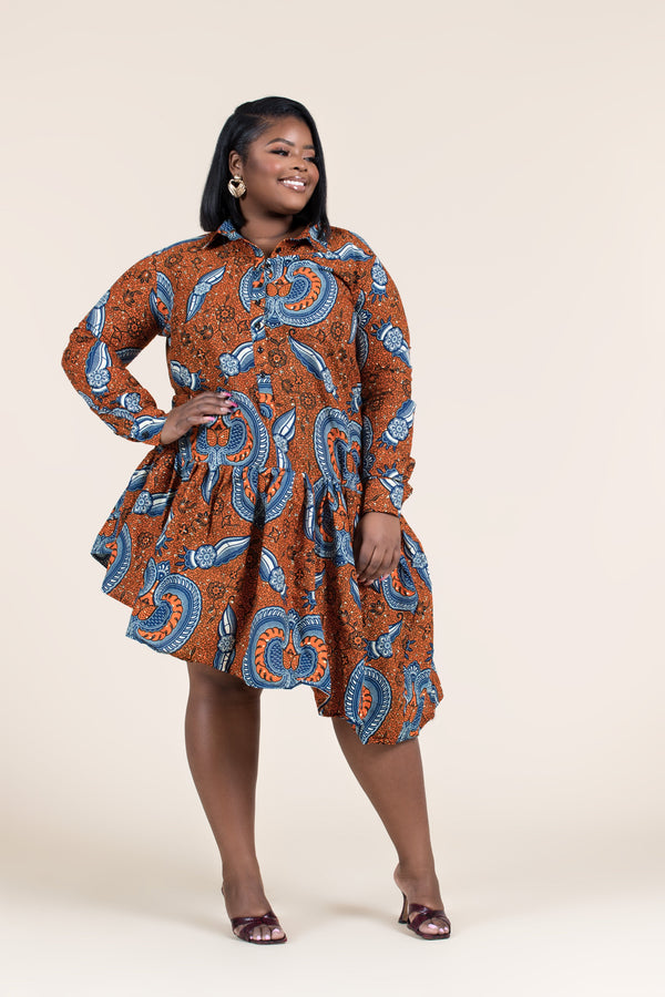Grass-Fields Mid Lenght Dresses African Print Abana Dress