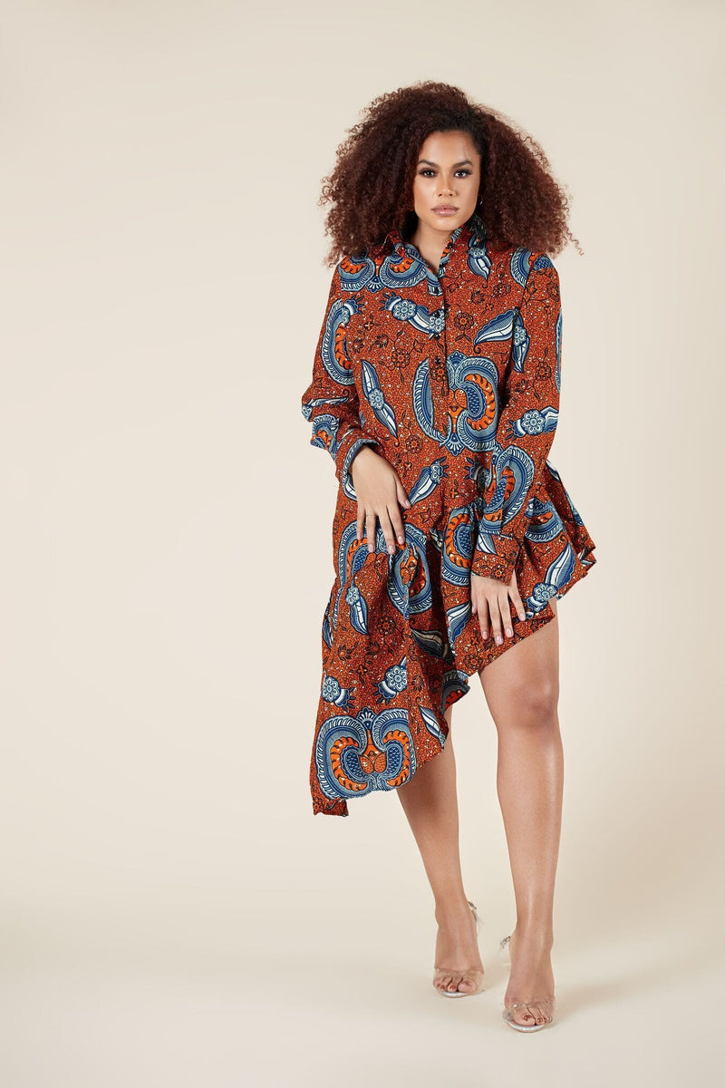 Grass-Fields Mid Lenght Dresses African Print Abana Shirt Dress