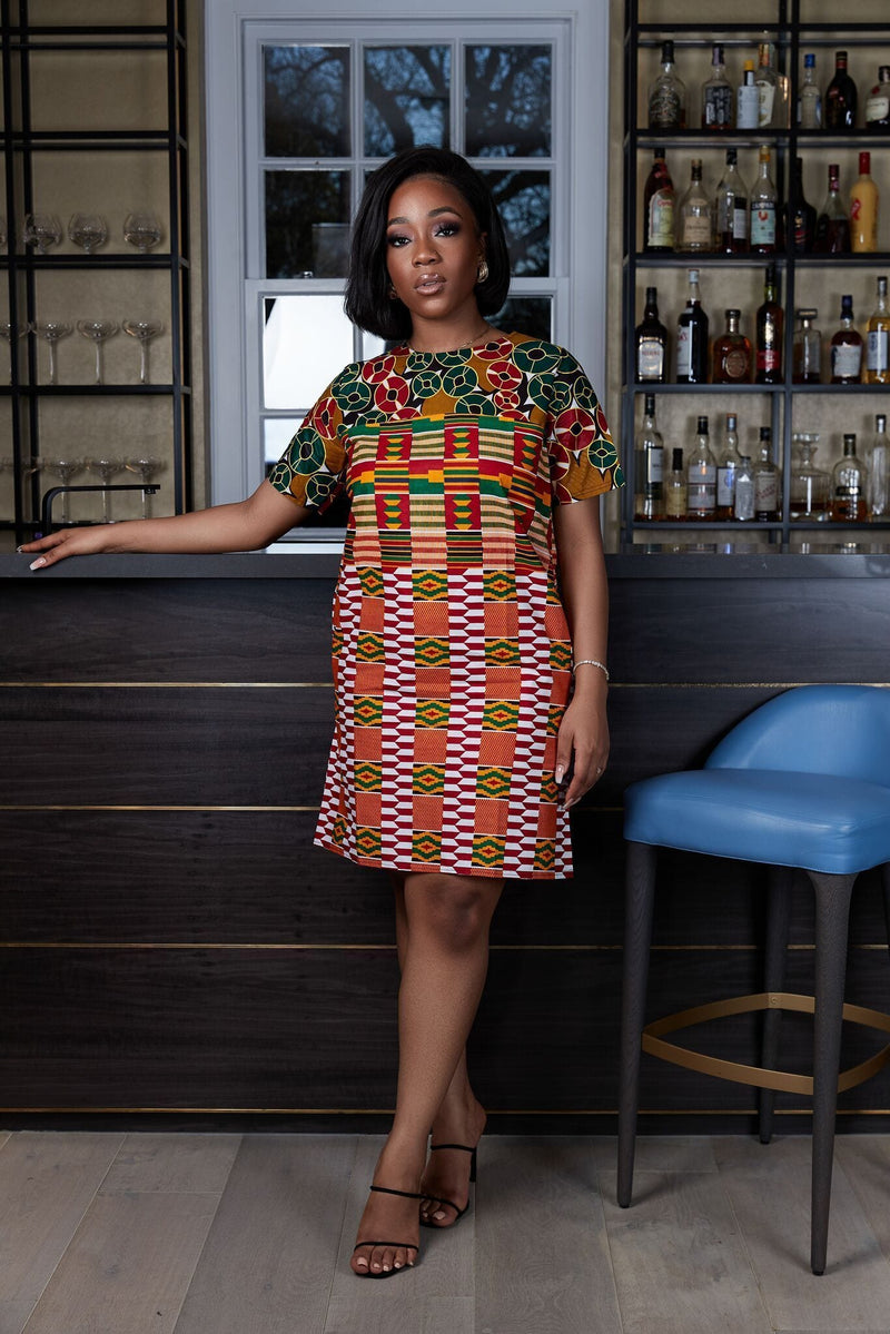 Grass-Fields Mid Lenght Dresses African Print Abeba Shift Dress