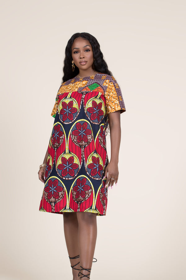 Grass-Fields Mid Lenght Dresses African Print Abeenah Shift Dress