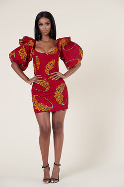 Grass-Fields Mid Lenght Dresses African Print Adrienne Dress