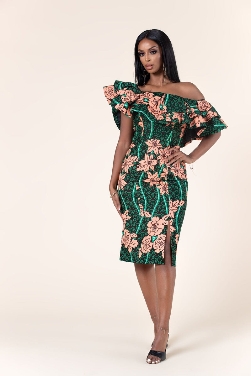 Grass-Fields Mid Lenght Dresses African Print Afia Off Shoulder Dress