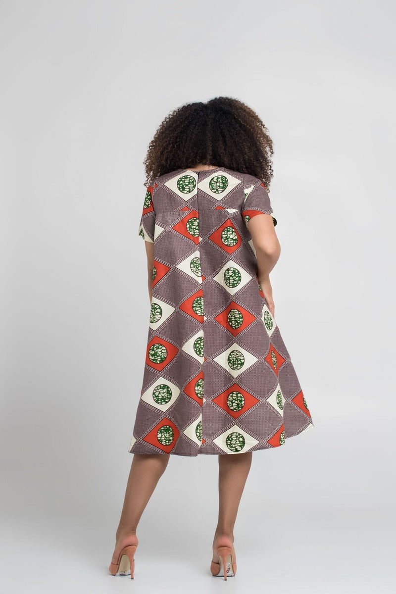 Grass-Fields Mid Lenght Dresses African Print Ahou Dress