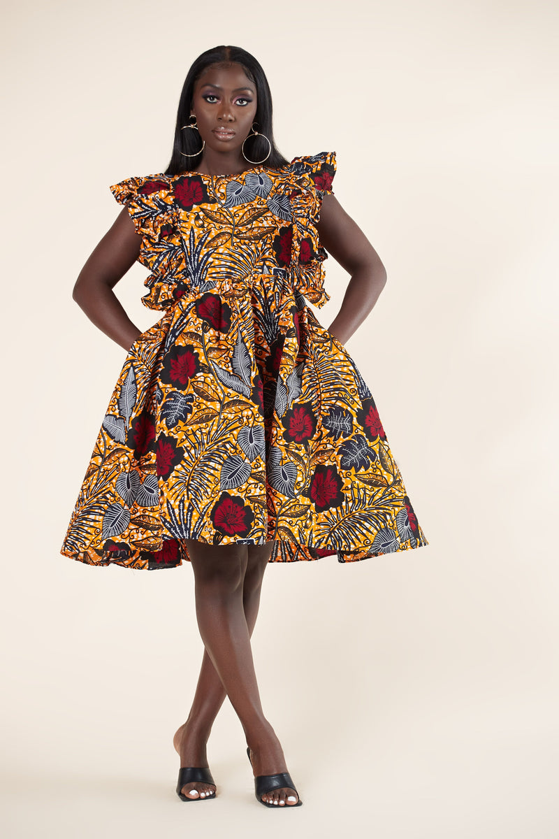 Grass-Fields Mid Lenght Dresses African Print Aijah Dress