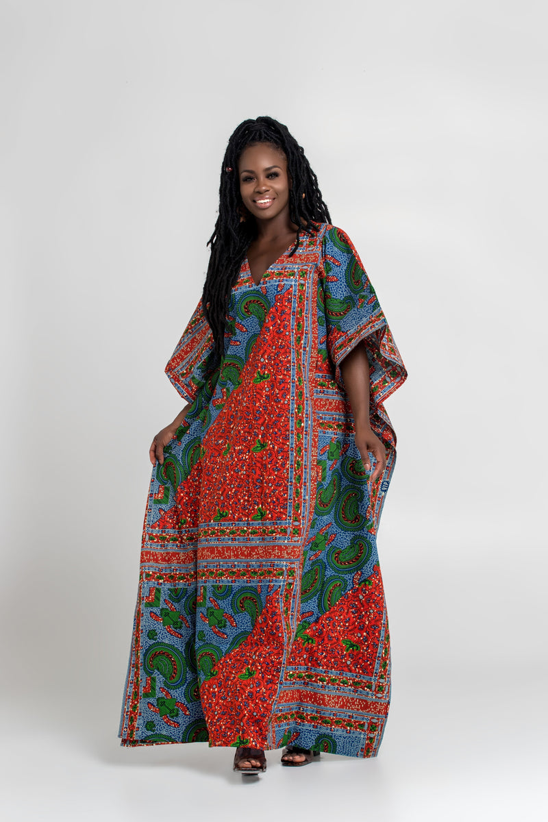 African Print Akissi Maxi Dress Mid Lenght Dresses Grass-Fields