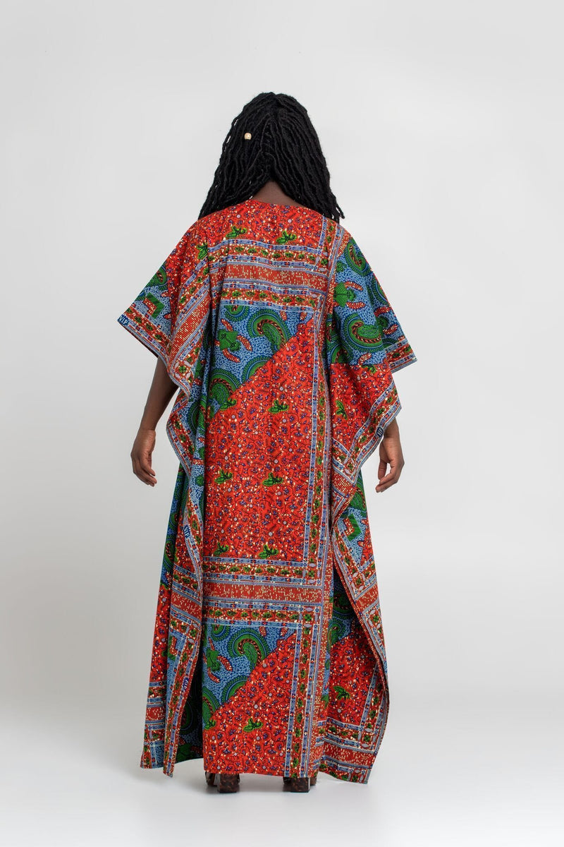 Grass-Fields Mid Lenght Dresses African Print Akissi Maxi Dress