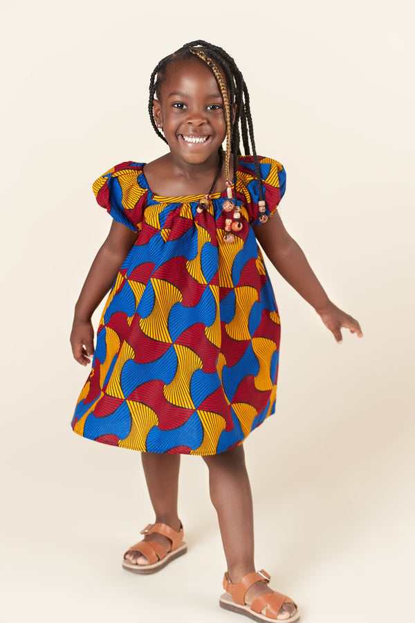 Grass-Fields Mid Lenght Dresses African Print Akua Kid's Dress
