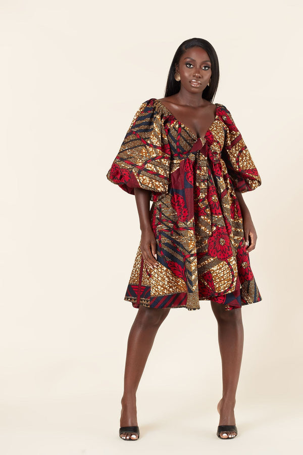 Grass-Fields Mid Lenght Dresses African Print Akuba Dress