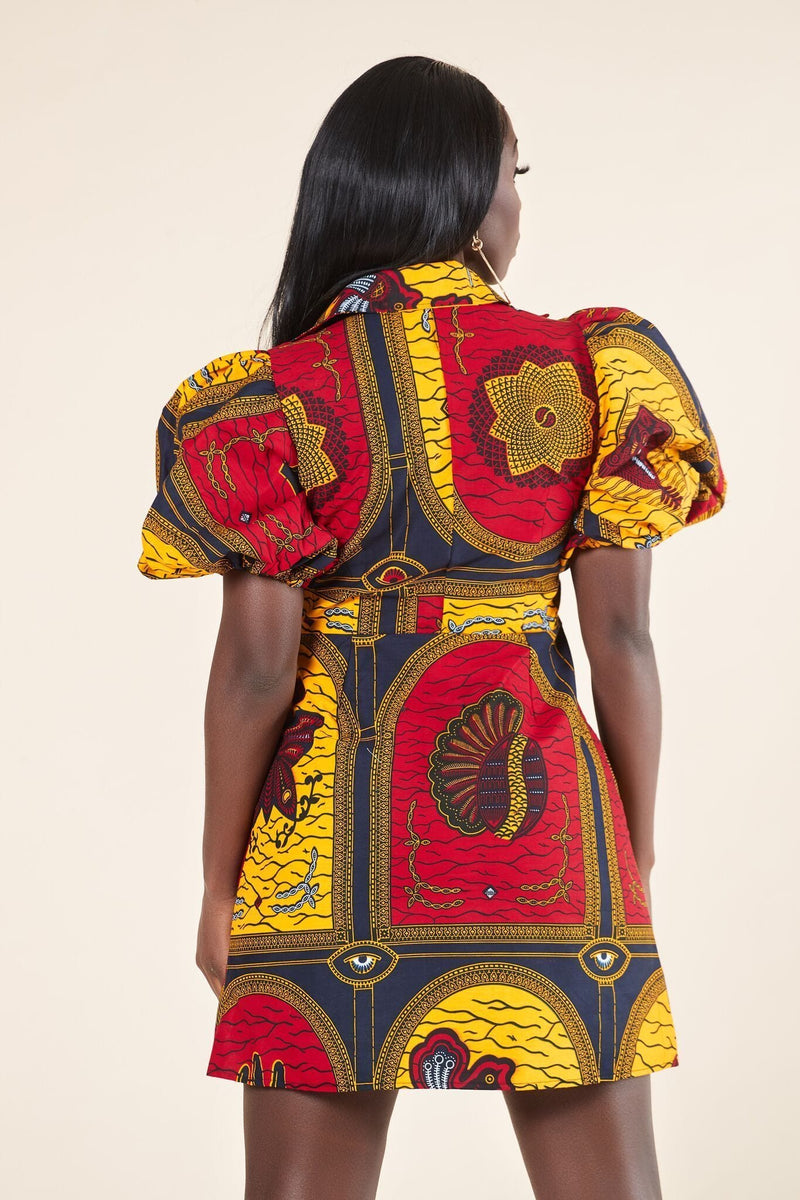 Grass-Fields Mid Lenght Dresses African Print Akwete Dress