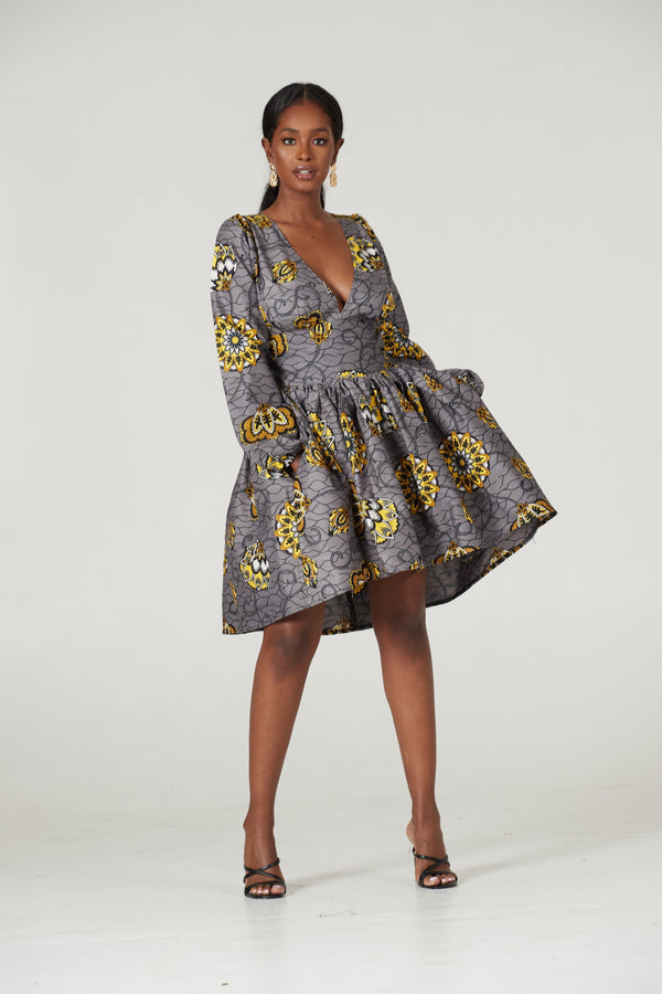 Grass-Fields Mid Lenght Dresses African Print Alana Highlow Dress