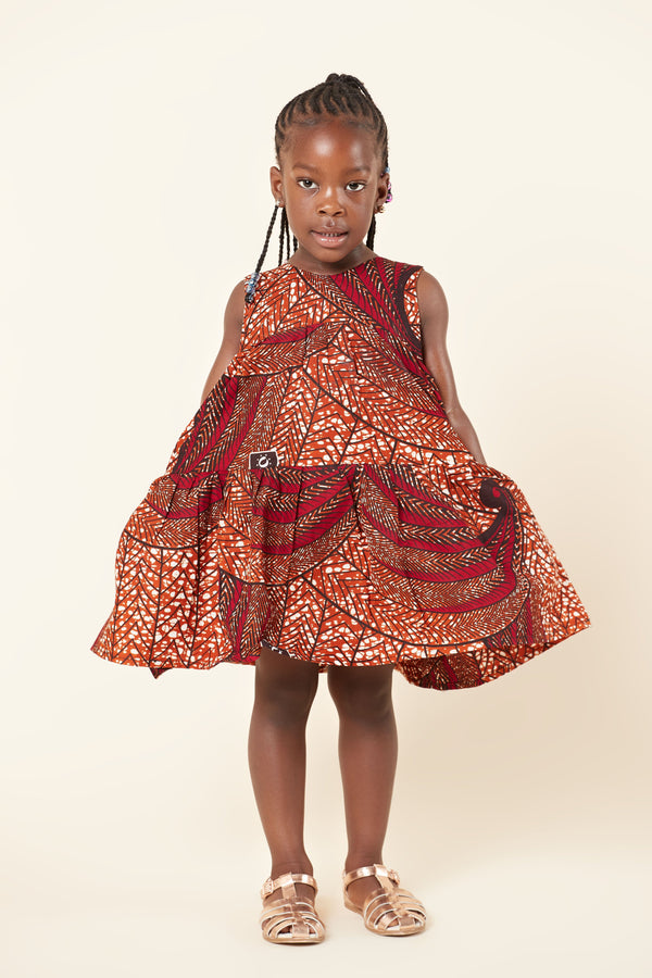 Grass-Fields Mid Lenght Dresses African Print Alyssa Kid's Dress