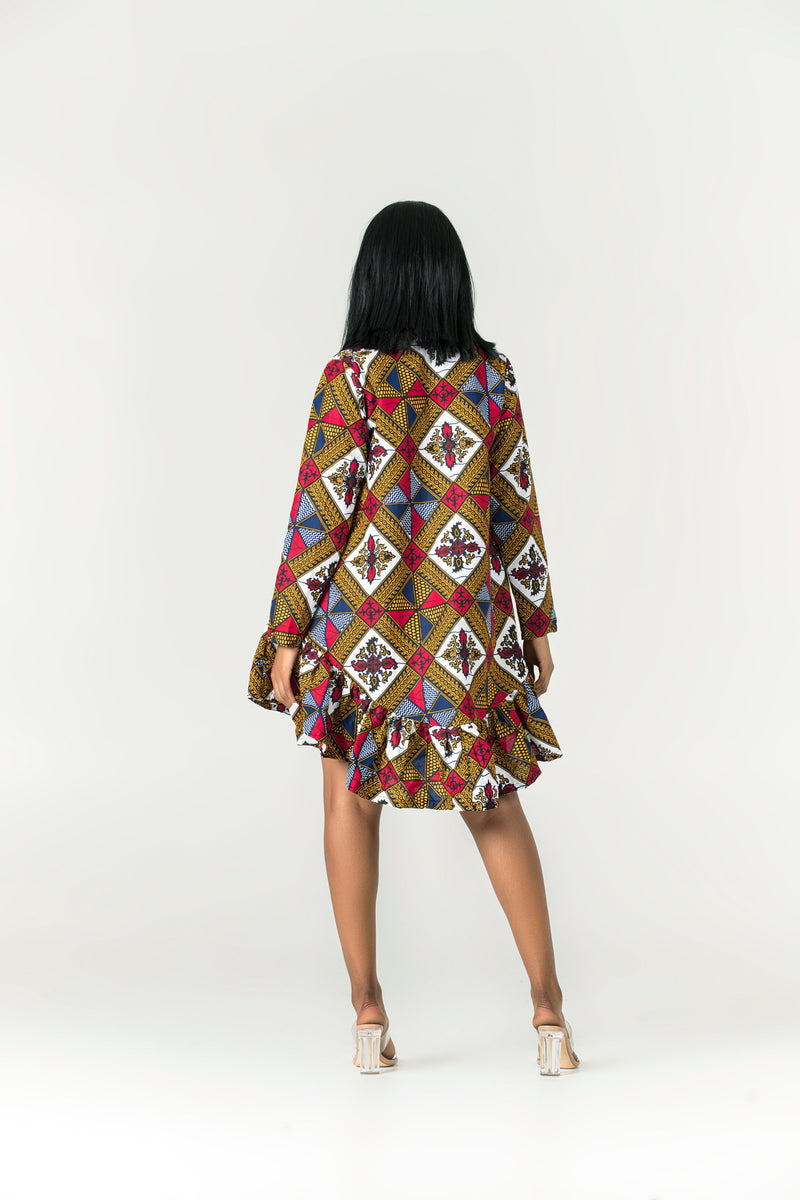 Grass-Fields Mid Lenght Dresses African Print Amahle Dress