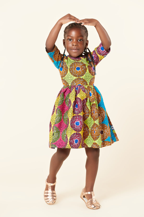 Grass-Fields Mid Lenght Dresses African Print Amaiya Kid's Dress