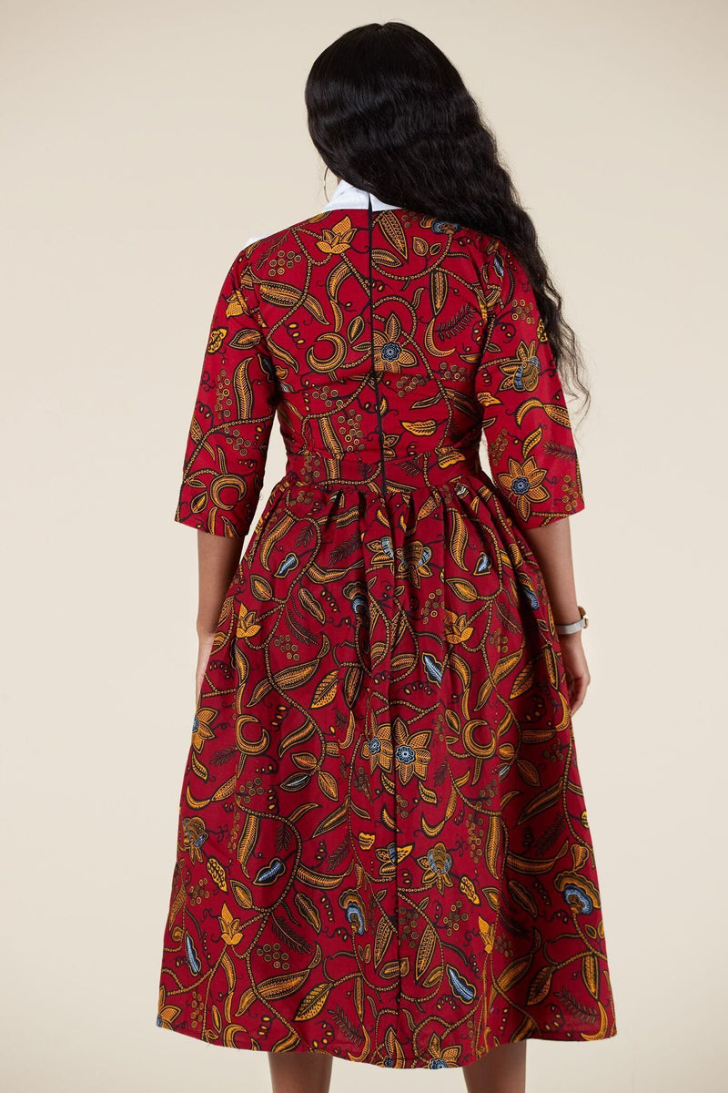 Grass-Fields Mid Lenght Dresses African Print Amaka Dress