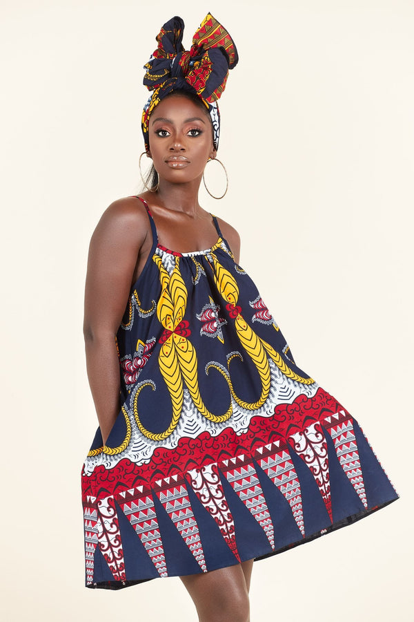 Grass-Fields Mid Lenght Dresses African Print Amara dress