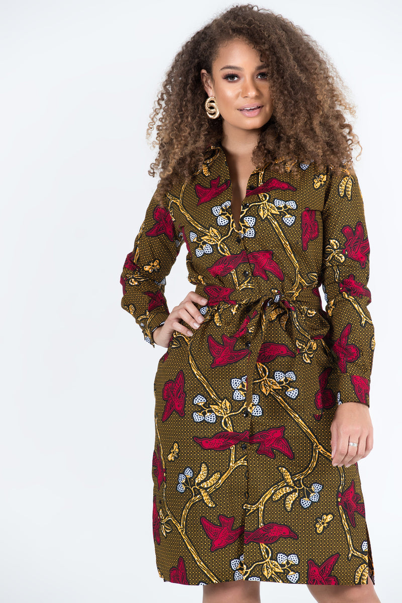 Grass-Fields Mid Lenght Dresses African Print Amara Midi Dress