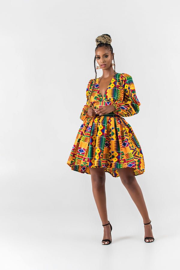 Grass-Fields Mid Lenght Dresses African Print Amari Highlow Dress