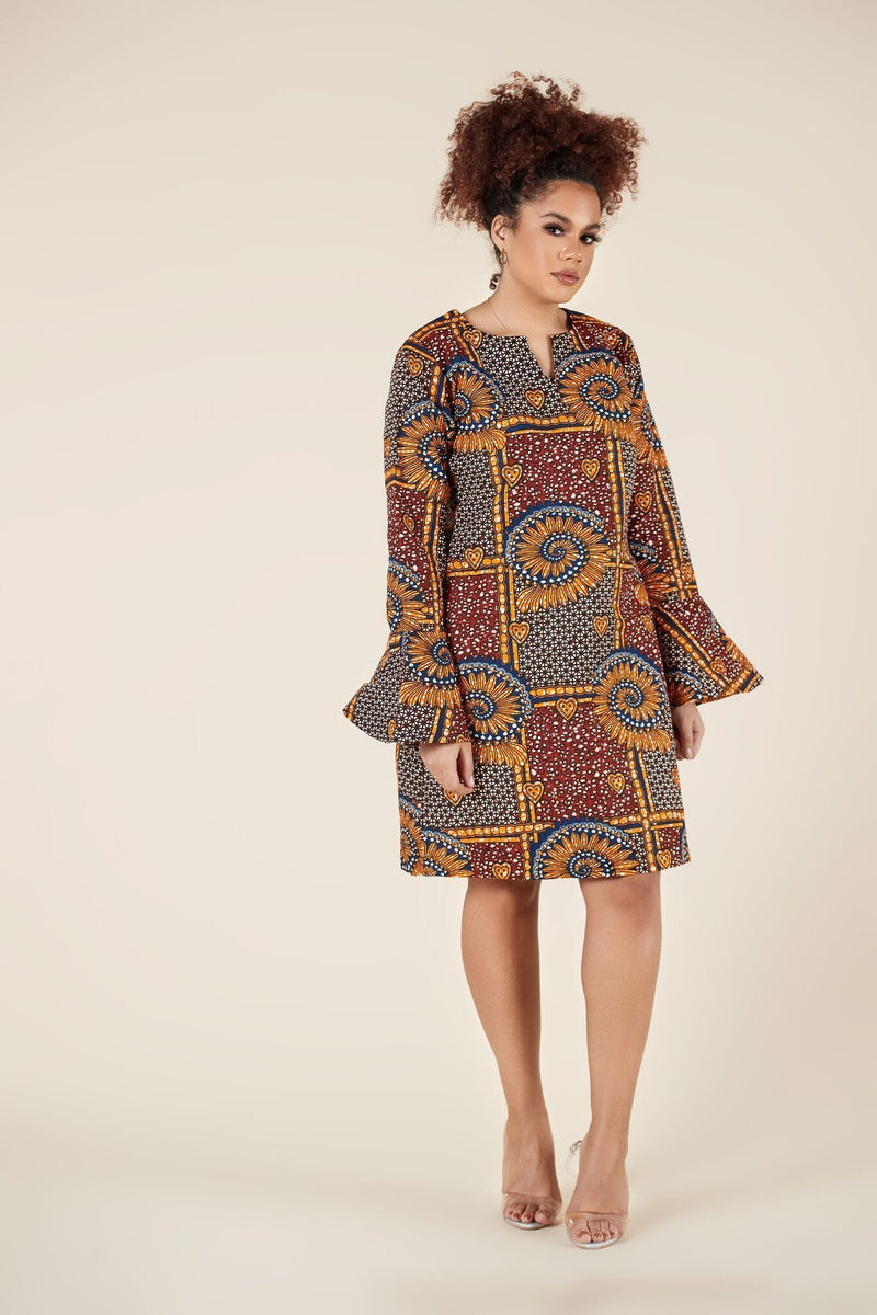 Grass-Fields Mid Lenght Dresses African Print Amia  Dress