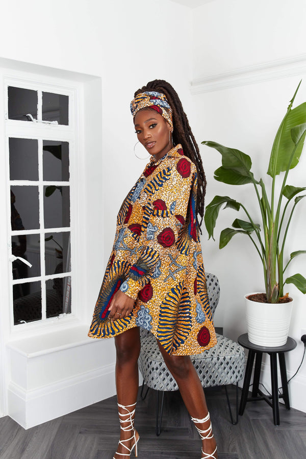 Grass-Fields Mid Lenght Dresses African Print Aneesha Dress
