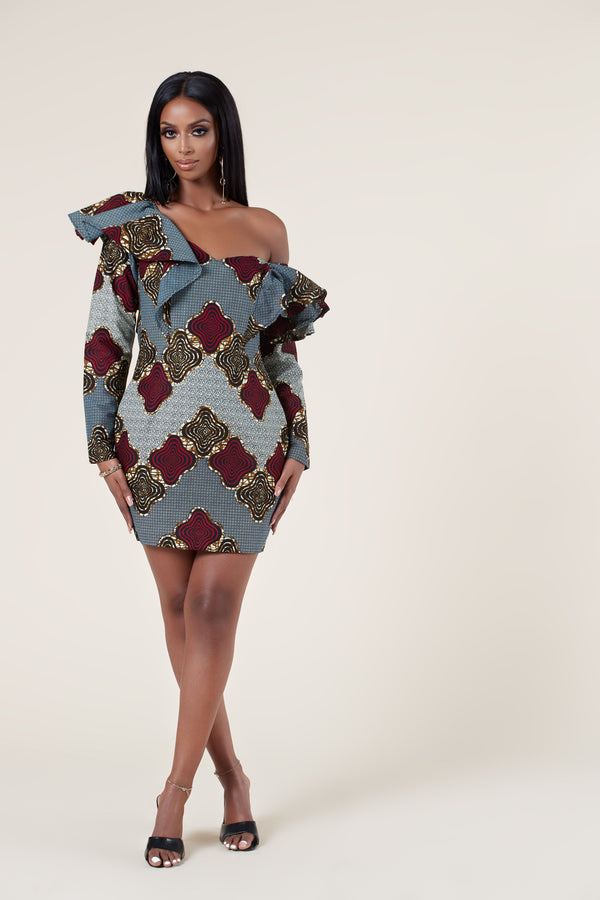 Grass-Fields Mid Lenght Dresses African Print Anna Dress